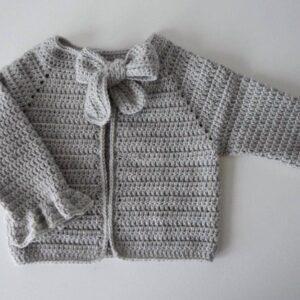 Crochet Grey Knitted Baby Cardigan Type Woolen Sweater - Woollei