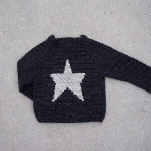 Woolen Crochet Baby Rock Star Black Full Sleeves Sweater - Woollei