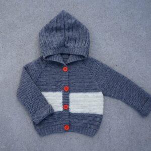 Crochet Grey Woolen Knitted Full Sleeves Hoody Sweater For Kids - Woollei