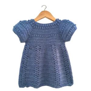 Blue Crochet Woolen Knitted Handmade Frock For Baby Girl - Woollei