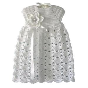 WHITE CROCHET BABY GIRL CHRISTENING DRESS FOR BABY GIRL - Woollei