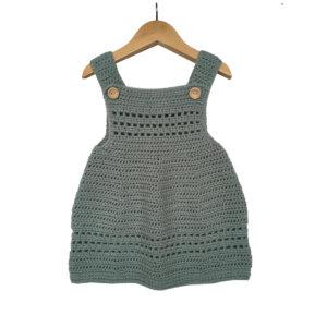 Grey Crochet Woolen Knitted Frock For Baby Girl - Woollei