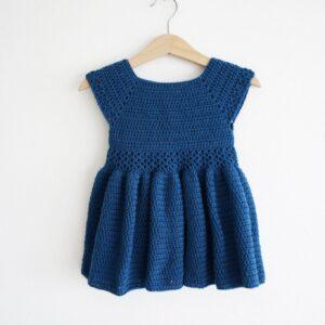 Navy Blue Crochet Woolen Knitted Frock For Baby Girl - Woollei