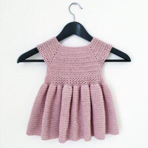 Pink Crochet Woolen Knitted Frock Skirt For Baby Girl - Woollei