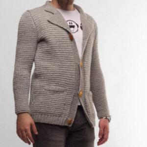 Grey Hand Knitted Men's Cardigan - Woollei