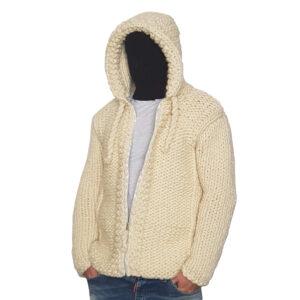 Crochet Men Cardigan Cream Color Handmade Jacket - Woollei