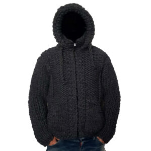 Crochet Men Cardigan Black Color Handmade Jacket - Woollei