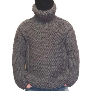 Crochet Men Cardigan Grey Color Handmade Jacket - Woollei