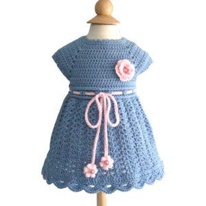 Blue Woolen Crochet Frock For Girl - Woollei