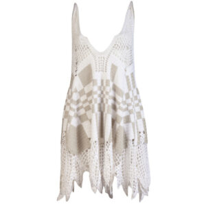 White and Grey Woollen Knitted Vest Top Sleeveless - Woollei