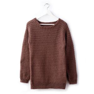 Crimson Colored Woolen Crocheted Sweater Full Sleeves - Woollei