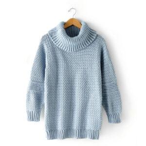 Blue Crocheted Cardigan With Turtleneck Full Sleeves - Woollei