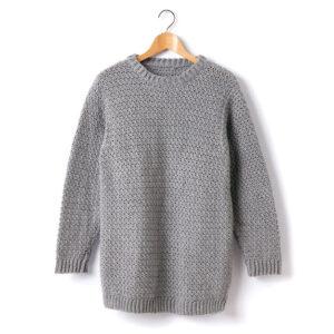 Grey Crocheted Men Sweater Full Sleeves - Woollei