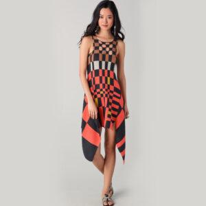 Knitted Asymmetric Kaleidoscopic Dress For Women & Girls - Woollei