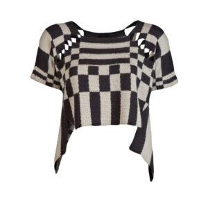 Grey & Black Woollen Knitted Crop Top High Raised Sleeves - Woollei